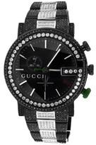 Gucci Ya101331 Custom Mens Black PVD 101 G Real 44 MM Full 14 Ct Diamond Watch