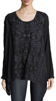 Johnny Was Cam Flowy Georgette Long Tunic, Sanded Black, Plus Size