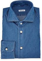 Kiton Long-Sleeve Denim Dress Shirt