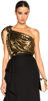 Lanvin Knotted One Shoulder Cheetah Print Silk Top