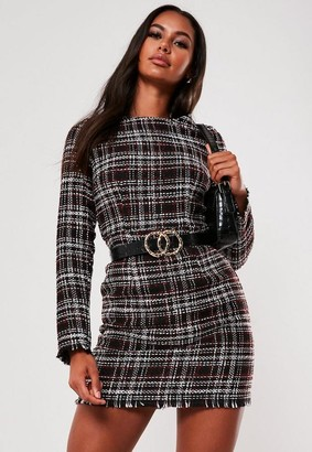 Missguided Black Tweed Shift Dress