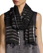 Eileen Fisher Lightweight Sparkle Striped Scarf, Black