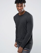 Asos Longline Crew Neck Sweater in Cotton