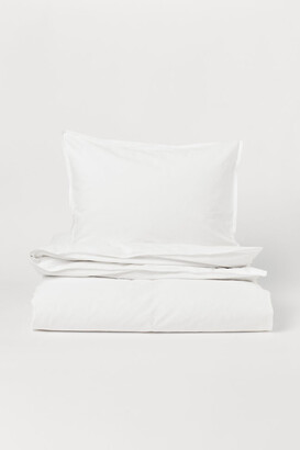 H&M Washed Cotton Duvet Cover Set - White