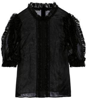 Philosophy di Lorenzo Serafini Ruffled Lace-trimmed Silk-organza Blouse