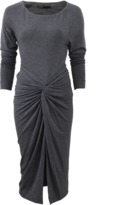 Donna Karan Bateau Neck Gathered Dress