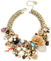 Betsey Johnson Gold-Tone Multi-Charm Statement Necklace