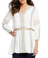 Chelsea & Theodore Embroidered V-Neck Tunic