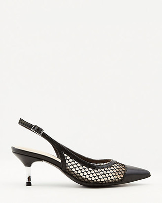 Le Château Faux Leather & Mesh Pointy Toe Pump