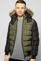 Boohoo Faux Fur Hooded Quilted Jacket