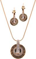 Ella & Elly Women's Earrings Goldtone - Crystal & Goldtone Round Pendant Necklace & Drop Earrings Set