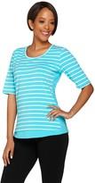 Denim & Co. Active Striped Scoop Neck Elbow Sleeve Top