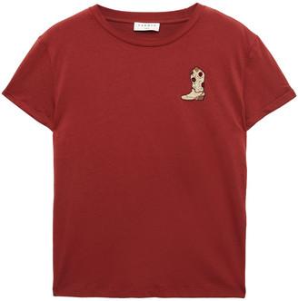 Sandro Appliqued Cotton-jersey T-shirt