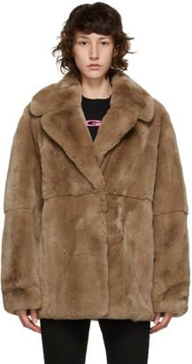 Yves Salomon Brown Fur Jacket