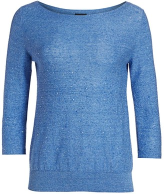 Akris Linen-Blend Sequin Boatneck Knit Sweater