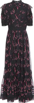Valentino Lace-trimmed Printed Silk-chiffon Maxi Dress