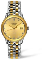 Longines Les Grandes Classiques Flagship L4.774.3.37.7 36mm Diamonds Automatic Gold Plated Stainless Steel Case Multicolor Two Tone Stainless Steel Synthetic Sapphire Men's Watch