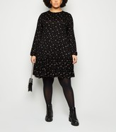 New Look Curves Floral Long Sleeve Smock Dress