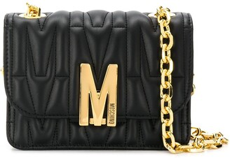 Moschino M-plaque quilted crossbody bag