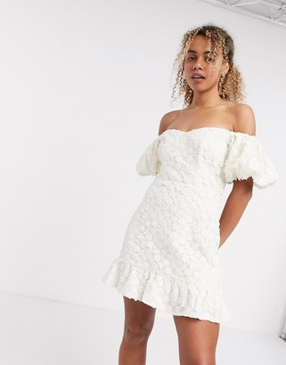 And other stories & floral lace puff sleeve mini dress in white
