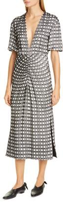 Proenza Schouler V-Neck Cap Sleeve Jacquard Dress