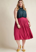 MCB1269A Accessorizing this pleated skirt with an optimistic attitude is one sure way to achieve your aspirations! A high-waisted A-line from our ModCloth namesake label, this magenta chiffon bottom boasts a guided, glamorous vibe.