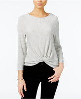 Bar III Three-Quarter-Sleeve Knot-Detail Top, Only at Macy's