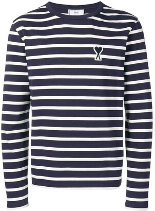Ami Paris Long Sleeved Striped Tee Shirt With Big De Coeur Patch