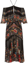 Roberto Cavalli Off-the-shoulder Ruffled Printed Silk-georgette Midi Dress - Black