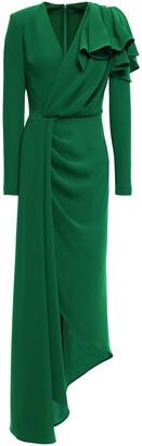 Elie Saab Ruffled Draped Cady Gown