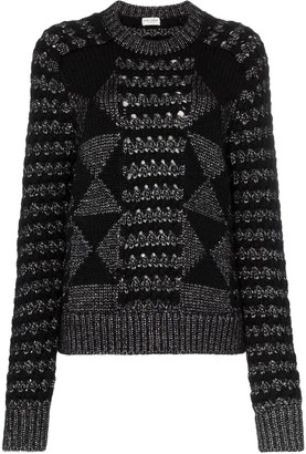 Saint Laurent Cable Knit Mohair Jumper