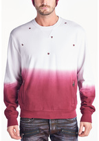 Cult of Individuality Scattered Crew Neck Sweatshirt In Ombre Burgundy