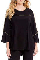 IC Collection Boat Neck Metallic Piping Trim Tunic