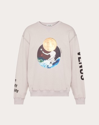Valentino Soul Planets Crew Neck Sweatshirt Man Pink Cotton 100% L