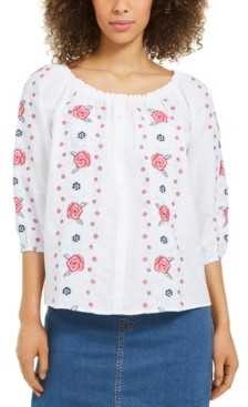 Charter Club Linen Embroidered-Front Blouse, Created for Macy's