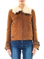 Veronica Beard Umber suede shearling biker jacket
