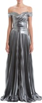 J. Mendel Off-The-Shoulder Matte Metallic Gown