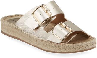 Allegra James Sage Metallic Dual Buckle Slide Sandals