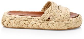 Clergerie Idalie Raffia Flatform Sandals
