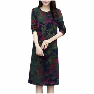 AMhomely Women Dresses Promotion Sale Women O-Neck Short Sleeve Long Dress Ladies Floral Print A-line Dress Plus Size Dress Party Elegant Dress Vintage Dress UK Size S - XXXXL