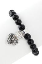King Baby Studio Polished Onyx & 3D Black Pave Crowned Heart Bracelet