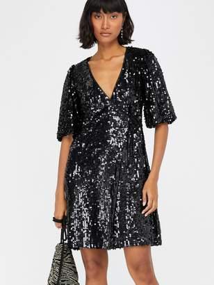 Monsoon Serena Sequin Wrap Dress - Black
