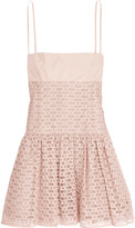 RED Valentino Grosgrain-paneled mesh and satin mini dress