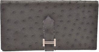 Hermes Gray Ostrich Leather Bearn Gusset Wallet