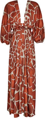 retrofete Lila Animal Print Crepe de Chine Maxi Dress