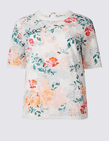 Per Una Pure Cotton Floral Embroidered Shell Top