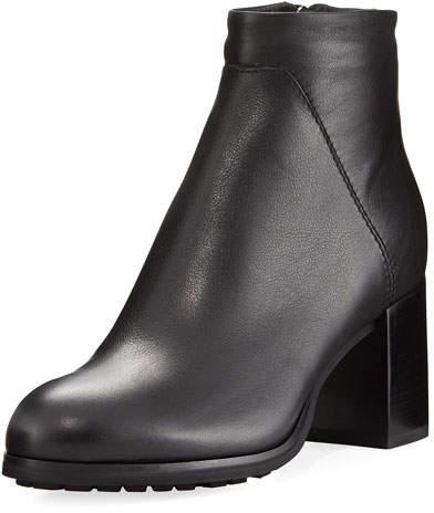 Aquatalia Everett Grained Leather Block-Heel Boot