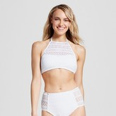 Clean Water Women's Crochet High Neck Bikini Swim Top - White