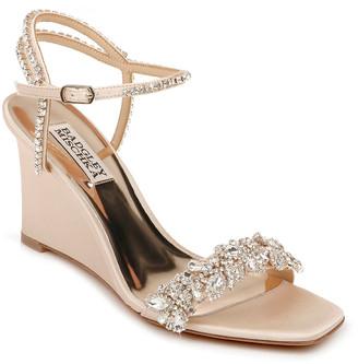 Badgley Mischka Jenna Embellished Satin Wedge Sandals