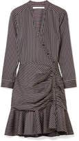Veronica Beard Button-detailed Striped Cotton Dress